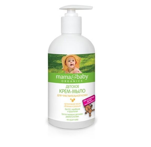 Mama&amp;Baby Мыло-крем для чувствительной кожи 500 млMama&amp;baby<br>Мягкая формула детского крем-мыла без SLS, парабенов и красителей не вызывает сухости кожи, обладает антибактериальным и увлажняющим эффектом, содержит только мягкие моющие вещества. Вот почему оно идеально подходит для нежной и чувствительной кожи малышей. <br>Сертифицированное органическое масло ромашки успокаивает, а масло облепихи защищает кожу, обогащая ее витаминами. <br>Купаться с Mama&amp;amp;Baby весело и полезно!<br><br>Вес г: 550<br>Бренд : Mama&amp;Babу<br>Объем мл: 500<br>Страна производитель : Россия