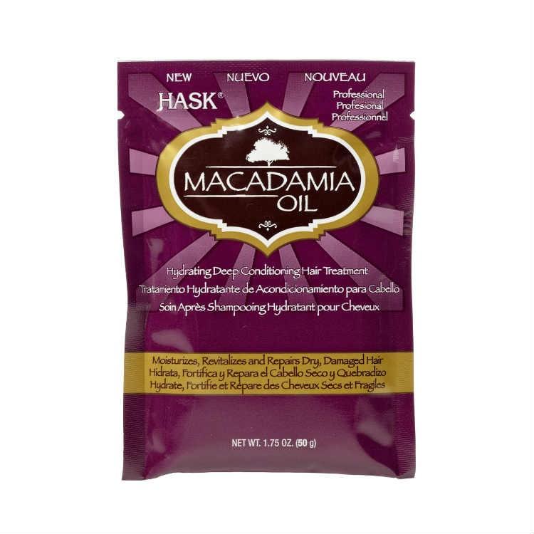 HASK Маска увлажняющая для волос с маслом Макадамии 50грHask<br>Увлажняющая маска с маслом Макадамии.Не содержит сульфаты, парабены, фталаты, клейковину (глютен), спирт и искусственные красители.Увлажняющая маска с маслом Макадамии незаменима для глубокого <br>увлажнения с восстановлением для сухих, поврежденных или химически <br>обработанных волос. Масло из орехов макадами содержащиеся в маске <br>идеально подходит для ваших волос из-за высокой концентрации жирные <br>кислот! Маска сделает даже самые пересохшие волосы увлаженными и <br>мягкими, шелковистыми и эластичнымиРекомендации по применению: Нанести достаточное количество  для <br>глубокого очищения на влажные волосы. Массирующими движениями вотрите <br>масло в волосы, делая упор на поврежденные участки. Оставьте впитываться<br> на 10 минут, затем тщательно смойте.<br><br>Вес г: 50<br>Бренд : HASK<br>Тип волос : сухие, поврежденные, после хим. завивки<br>Действие : увлажнение, восстановление<br>Тип средства для волос : маска<br>Страна производитель : США