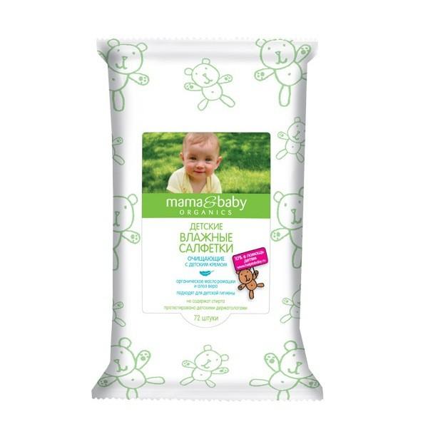 Mama&amp;Baby Салфетки влажные очищающие с кремом 72 штВлажные салфетки Mama&amp;Baby созданы специально для детской гигиены. Они бережно очищают кожу, не вызывают раздражения. Ухаживающий крем защищает от покраснений и сухости.<br>Органическое масло ромашки и экстракт алоэ вера обладают смягчающими и антисептическими свойствами. Безопасная формула не содержит спирта.<br><br>Вес г: 50<br>Бренд : Mama&amp;Babу<br>Страна производитель : Россия