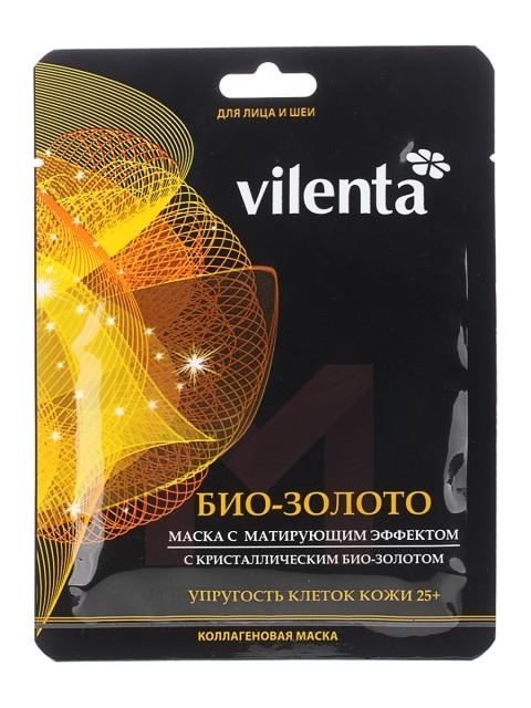 VILENTA Маска тканевая плацентарная Био золото+ с матирующим эффектом 25+Vilenta<br>Входящее в состав маски биологически активное золото, способно неустанно доставлять в глубокие слои эпидермиса питательные и увлажняющие компоненты, стимулирующие обменные процессы, восстанавливающие и укрепляющие клетки кожи.Обладает выраженным противовоспалительным, матирующим и стягивающим эффектом при расширенных порах кожи, нормализует секрецию сальных желез, препятствует их закупорке.<br><br>Вес г: 60<br>Бренд: Vilenta<br>Объем мл: 40<br>Тип кожи: нормальная, комбинированная, проблемная<br>Консистенция маски: тканевая<br>Часть лица: лицо<br>По времени суток: дневной уход<br>Назначение маски: увлажняющая, питательная, восстанавливающая, противовоспалительная, матирующая<br>Страна производитель: Китай