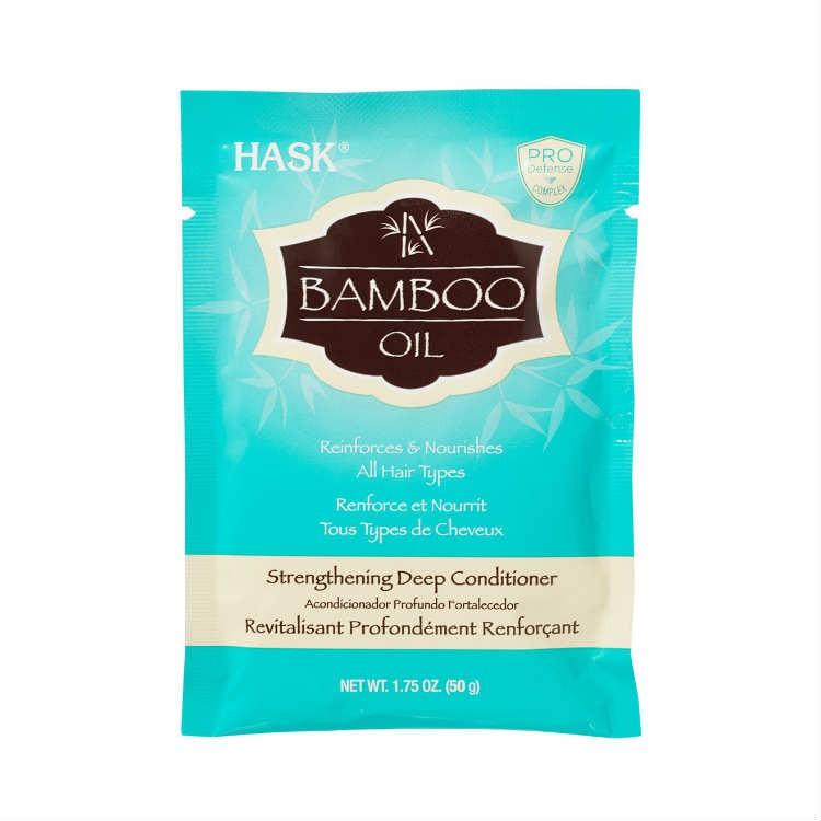 HASK Маска укрепляющая для волос с маслом Бамбука 50грHask<br>Укрепляет &amp;amp; ПитаетНе содержит сульфаты, парабены, фталаты, клейковину (глютен), спирт и искусственные красители.Маска с маслом Бамбука на основе белкового комплекса, который <br>проникает в структуру волоса, укрепляя и защищая их. Используйте маску <br>для увлажняющих процедур, которые укрепят ломкие волосы. Масло Бамбука, <br>обеспечивает прочный фундамент для волос, укрепит пряди волос, сделает <br>волосы гибкими. Биотин и коллаген обеспечивает силу волосам и здоровый <br>вид.Рекомендации по применению: Нанести щедрое количество на влажные <br>волосы. Массирующими движениями вотрите маску в волосы, делая упор на <br>поврежденные участки. Оставьте впитываться на 10 минут, затем тщательно <br>смойте. Идеально подходит для использования 1-2 раза в неделю, или по <br>мере необходимости.<br><br>Вес г: 50<br>Бренд : HASK<br>Тип волос : все типы волос<br>Действие : питание, укрепление<br>Тип средства для волос : маска<br>Страна производитель : США