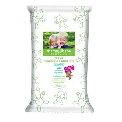 Mama&amp;Baby Салфетки очищающие. Универсальные 10 штMama&amp;baby<br>Детские очищающие влажные салфетки Mama&amp;amp;Baby – всегда под рукой! Они позволяют деликатно очистить кожу ребенка, обладают антибактериальным эффектом. <br>Входящее в состав органическое масло ромашки оказывает антисептическое действие. Экстракт зеленого чая дезинфицирует, увлажняет и освежает кожу. Безопасная формула не содержит спирта.<br><br>Вес г: 30<br>Бренд : Mama&amp;Babу<br>Страна производитель : Россия