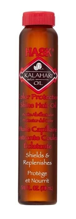 HASK Масло для защиты цвета и придания блеска волосам с маслом дыни Калахари 18млHask<br>Это легкое масло без содержания спирта мгновенно впитывается и <br>наполняет волосы сиянием, не оставляя жирного блеска. Обогащено <br>витамином Е, Омега-7 и антиоксидантами. Масло макадамии глубоко <br>проникает в кутикулу волоса, делая даже самые поврежденные волосы <br>мягкими и невероятно блестящими.Применение: Можно использовать как на мокрые, так и <br>на сухие волосы. Небольшое количество масла равномерно нанесите на <br>волосы, избегая прикорневой зоны. Продолжите свою обычную укладку. Для <br>достижения наилучшего результата используйте вместе с другими продуктами<br> марки HASK.Меры предосторожности: Только для наружного применения. Избегайте попадания в глаза. При попадании в глаза, тщательно промойте водой. Беречь от детей.<br>Условия хранения: хранить при комнатной температуре.<br>Состав:<br> Cyclopentasiloxane, Dimethiconol, Citrullus Lanatus (Kalahari Melon) <br>Seed Oil, Helianthus Annuus (Sunflower) Seed Oil, Vaccinium Macrocarpon <br>(Cranberry) Seed Oil, Benzophenone-3, Tocopherol, Fragrance/Parfum<br><br>Вес г: 68<br>Бренд : HASK<br>Объем мл: 18<br>Тип волос : окрашенные<br>Действие : сохранение цвета, блеск и эластичность<br>Тип средства для волос : масло<br>Страна производитель : США