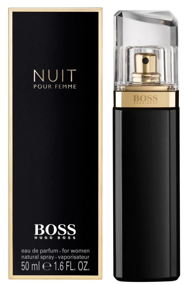 Hugo Boss Nuit Парфюмерная вода 50 млHugo Boss<br>Руководство по выбору:<br>Дневной и вечерний аромат<br>Описание:<br>Boss Nuit Pour Femme от Hugo Boss - аромат для женщин. Выпущен в продажу в 2012 году. Относится к числу цветочных ароматов. Предназначен для весны и осени, для вечернего времени суток. Теплый, чувственный парфюм понравится амбициозным и ярким женщинам. Сочетается с изысканными нарядами, аксессуарами в классическом стиле. Хороший выбор для корпоративного мероприятия. Обладает достаточной стойкостью, приятным шлейфом.<br>Особенности состава:<br>Жасмин - таинство ночи, страсть и женственность<br>Мнение эксперта:<br>BOSS Nuit - очень чувственные, женственные духи. Благодаря своей неимоверной соблазнительности и в то же время элегантности, они идеально подходят для вечерних выходов<br>Состав:<br>Alcohol Denat, , Parfum(Fragrance) , Aqua(Water) , Ethylhexyl Methoxycinnamate , Diethylamino Hydroxybenzoyl Hexyl Benzoate , Propylene Glycol , Methylparaben , Bht , Benzyl Salicylate , Butylphenyl Methylpropional , Citronellol , Alpha-Isomethyl Ionone , Linalool , Limonene , Geraniol , Benzyl Benzoate , Citral , Hydroxycitronellal , Ci 14700(Red 4) , Ci 60730(Ext, violet 2) , Ci 42090(Blue 1) , Ci 15985(Yellow 6) ,<br><br>Вес г: 80<br>Бренд : Hugo Boss<br>Объем мл: 50<br>Возраст : 20+<br>Страна производитель : Великобритания<br>Вид Аромата : Цветочный<br>Шлейф : Сандал, белое дерево, дубовый мох<br>Верхняя Нота : Белый персик, альдегиды<br>Верхняя Нота : Белый персик, альдегиды