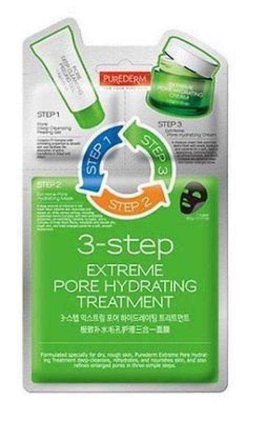 PUREDERM Трехступенчатый комплекс Очищающий уход (гель+маска+крем)Purederm<br>Средство 3-в-1 -комплексный уход для глубокого очищения, увлажнения, питания кожи, сужения пор в три простых этапа. Отшелушивающий гель для очищения пор (Шаг 1): содержит комплекс ингредиентов с отшелушивающими свойствами. Разглаживает кожу и способствует впитыванию активных ингредиентов маски (Шаг 2) и крема (Шаг) 3.  Увлажняющая маска с древесным углем (Шаг 2): Большое количество древесного угля в маске адсорбирует загрязнения кожи и излишки кожного сала, а активные ингредиенты, в том числе экстракт камелии и запатентованный комплекс аминокислот, обладает отшелушивающими свойствами, увлажняет и питает сухую, огрубевшую кожу, сужает расширенные поры, придавая коже ухоженный вид.  Увлажняющий крем (Шаг 3): прекрасно утоляет жажду кожи, наполняя ее необходимым количеством влаги и питательных веществ, делает кожу мягкой и здоровой. Экстракт камелии, комплекс аминокислот очищают и сужают расширенные поры.  Способ применения  1. Откройте саше с Отшелушивающим гелем для очищения пор (Шаг 1) и нанесите его на чистую и сухую кожу лица, избегая области глаз и губ. Помассируйте круговыми движениями, смойте теплой водой. 2. Откройте саше с Увлажняющей тканевой маской (Шаг 2). Выньте маску и наложите ее равномерно на лицо.  3. Через 10-20 минут снимите маску, аккуратно потянув за края. Вмассируйте остатки маски в кожу лица. Не смывайте.  4. Откройте саше с Увлажняющим кремом (Шаг 3) и нанесите его тонким слоем на лицо.  Состав  Отшелушивающий гель для очищения пор- состав: Water (Aqua), PEG-8, Cellulose, Dipropylene Glycol , Glycerin, Alcohol Denat, Sodium Hyaluronaate, Pyrus Malus (Apple) Fruit Extract, Vaccinium Myrtillus Fruit Fruit/Leaf Extract, Saccharum Officinarum (sugar Cane) Extract, Acer Saccharum (Sugar Maple) Extract, Citrus Aurantium Dulcis (Orange) Fruit Extract, Citrus Limon (Lemon) Fruit Extract, Allantoin, Beta-Glucan, Disodium EDTA, Carbomer, Triethanolamine, Peg-60 Hydrogenated Cas