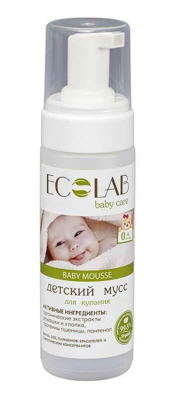 Ecolab Детский мусс для купанияДля детей<br>Нежный мусс Эколаб обеспечит легкое и бережное очищение. Органический экстракт хлопка, входящий в его состав, сохраняет естественную защиту детской кожи.<br>Протеины пшеницы оказывают восстанавливающее действие, помогая снять раздражение, которое нередко возникает на детской коже из-за аллергии или от подгузника. Органический экстракт ромашки помогает успокоить кожу, восстанавливает и увлажняет, оказывает антисептическое действие.<br>Содержит более 99% ингредиентов растительного происхождения.<br>В состав входят органические экстракты и масла.<br>Продукт не содержит SLS, SLES, парабенов, красителей и синтетических консервантов.Ромашка аптечная оказывает успокаивающее действие, смягчает, увлажняет, идеально для чувствительной кожи.<br><br>Вес г: 170<br>Бренд : Ecolab<br>Объем мл: 150<br>Страна производитель : Россия