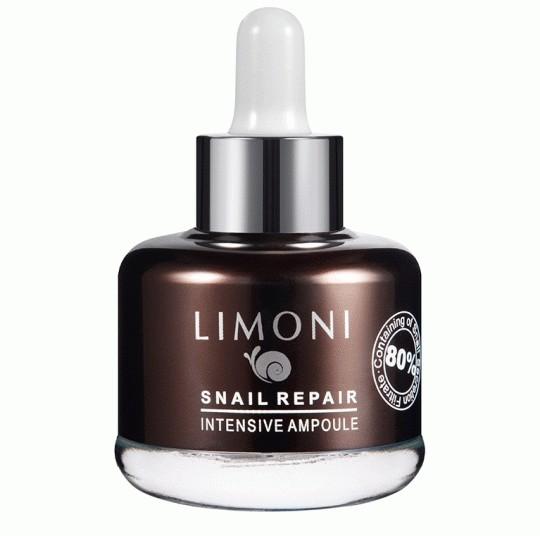 Limoni SNAIL REPAIR INTENSIVE AMPOULE Сыворотка для лица восстанавливающая 25 млУход для лица<br>Интенсивно заживляет, увлажняет, успокаивает, уменьшает глубину морщинок и питает кожу.<br>Состав улиточной слизи.Сыворотка находится во флаконе— он стеклянный, коричневого цвета, с пипеткой. Для перевозки можно использовать крышечку, которая идет в комплекте.<br>Консистенция густой прозрачный гель, довольно тягучий и липкий.<br>Аромат легкий, свежий, на коже после впитывания не ощущается.<br>Нанесение сыворотка распределяется легко, скользит по лицу, впитывается быстро, но в течение пары-тройки минут ощущается небольшая липкость, которая потом бесследно исчезает. Требуется минут 7, чтобы сыворотка впиталась полностью.<br><br>Вес г: 55<br>Бренд: Limoni<br>Объем мл: 25<br>Тип кожи: все типы кожи<br>Консистенция: сыворотка/эмульсия<br>Тип крема: увлажняющий, питательный, антивозрастной, восстанавливающий<br>Возраст: 30+, 35+, 40+, 45+<br>Эффект: лифтинг-эффект, сокращает морщины<br>По времени суток: дневной уход<br>Страна производитель: Италия
