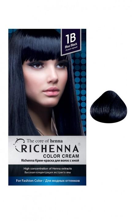 Richenna Крем-краска для волос с хной (1B Blue Black)Крем-краска Richenna для волос с хной - 13 различных оттенков. Активные ингредиенты:<br>экстракт хны<br>протеины сои<br>масло семян жожоба<br>Действие:<br>Рекомендуется для безопасного изменения цвета волос.<br>Краска Риченна окрашивает полностью седые волосы.<br>Высокая концентрация экстракта хны позволяет снизить риск повреждения волос.<br>Придает волосам живой цвет и красивый блеск.<br><br>Применение:<br><br>Смешайте средство №1 и №2 в пропорции 1 : 1 непосредственно перед нанесением на волосы<br>Равномерно распределить смесь по всей длине волос.<br>Оставьте для воздействия на 20-30 мин. Количество можно уменьшить или увеличить в зависимости от объема и длины волос.<br>Смойте теплой водой.<br>Вымойте голову шампунем, тщательно ополосните.<br>Нанесите на волосы кондиционер, тщательно ополосните.<br><br>В комплекте:<br>крем-краска №1 - 60 г.; крем-окислитель №2 - 60 г.; лечебный шампунь с хной 10 мл.; виниловые перчатки; накидка; пластиковая тара; расческа для окрашивания.<br><br>Бренд : Richenna<br>Вид краски для волос : с хной<br>Оттенок краски для волос : 11L Bleaching Blonde