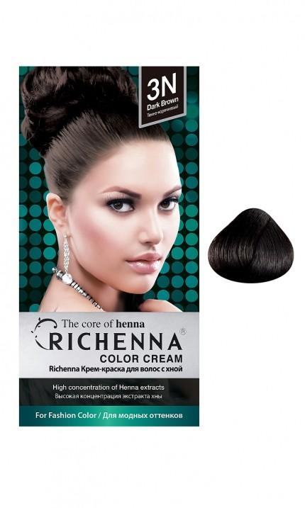 Richenna Крем-краска для волос с хной (3N Dark Brown)Окрашивание волос<br>Крем-краска Richenna для волос с хной - 13 различных оттенков. Активные ингредиенты:<br>экстракт хны<br>протеины сои<br>масло семян жожоба<br>Действие:<br>Рекомендуется для безопасного изменения цвета волос.<br>Краска Риченна окрашивает полностью седые волосы.<br>Высокая концентрация экстракта хны позволяет снизить риск повреждения волос.<br>Придает волосам живой цвет и красивый блеск.<br><br>Применение:<br><br>Смешайте средство №1 и №2 в пропорции 1 : 1 непосредственно перед нанесением на волосы<br>Равномерно распределить смесь по всей длине волос.<br>Оставьте для воздействия на 20-30 мин. Количество можно уменьшить или увеличить в зависимости от объема и длины волос.<br>Смойте теплой водой.<br>Вымойте голову шампунем, тщательно ополосните.<br>Нанесите на волосы кондиционер, тщательно ополосните.<br><br>В комплекте:<br>крем-краска №1 - 60 г.; крем-окислитель №2 - 60 г.; лечебный шампунь с хной 10 мл.; виниловые перчатки; накидка; пластиковая тара; расческа для окрашивания.<br><br>Вес г: 200<br>Бренд: Richenna<br>Вид краски для волос: с хной<br>Оттенок краски для волос: 3N Dark Brown