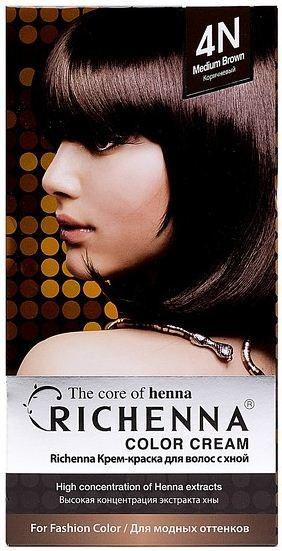 Richenna Крем-краска для волос с хной (4N Brown)Окрашивание волос<br>Крем-краска Richenna для волос с хной - 13 различных оттенков. Активные ингредиенты:<br>экстракт хны<br>протеины сои<br>масло семян жожоба<br>Действие:<br>Рекомендуется для безопасного изменения цвета волос.<br>Краска Риченна окрашивает полностью седые волосы.<br>Высокая концентрация экстракта хны позволяет снизить риск повреждения волос.<br>Придает волосам живой цвет и красивый блеск.<br><br>Применение:<br><br>Смешайте средство №1 и №2 в пропорции 1 : 1 непосредственно перед нанесением на волосы<br>Равномерно распределить смесь по всей длине волос.<br>Оставьте для воздействия на 20-30 мин. Количество можно уменьшить или увеличить в зависимости от объема и длины волос.<br>Смойте теплой водой.<br>Вымойте голову шампунем, тщательно ополосните.<br>Нанесите на волосы кондиционер, тщательно ополосните.<br><br>В комплекте:<br>крем-краска №1 - 60 г.; крем-окислитель №2 - 60 г.; лечебный шампунь с хной 10 мл.; виниловые перчатки; накидка; пластиковая тара; расческа для окрашивания.<br><br>Вес г: 200<br>Бренд : Richenna<br>Вид краски для волос : с хной<br>Оттенок краски для волос : 4N Brown