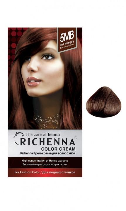 Richenna Крем-краска для волос с хной (5MB Dark Mahogany)Окрашивание волос<br>Крем-краска Richenna для волос с хной - 13 различных оттенков. Активные ингредиенты:<br>экстракт хны<br>протеины сои<br>масло семян жожоба<br>Действие:<br>Рекомендуется для безопасного изменения цвета волос.<br>Краска Риченна окрашивает полностью седые волосы.<br>Высокая концентрация экстракта хны позволяет снизить риск повреждения волос.<br>Придает волосам живой цвет и красивый блеск.<br><br>Применение:<br><br>Смешайте средство №1 и №2 в пропорции 1 : 1 непосредственно перед нанесением на волосы<br>Равномерно распределить смесь по всей длине волос.<br>Оставьте для воздействия на 20-30 мин. Количество можно уменьшить или увеличить в зависимости от объема и длины волос.<br>Смойте теплой водой.<br>Вымойте голову шампунем, тщательно ополосните.<br>Нанесите на волосы кондиционер, тщательно ополосните.<br><br>В комплекте:<br>крем-краска №1 - 60 г.; крем-окислитель №2 - 60 г.; лечебный шампунь с хной 10 мл.; виниловые перчатки; накидка; пластиковая тара; расческа для окрашивания.<br><br>Вес г: 200<br>Бренд : Richenna<br>Вид краски для волос : с хной<br>Оттенок краски для волос : 5MB Dark Mahogany