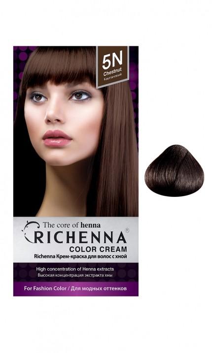 Richenna Крем-краска для волос с хной (5N Chestnut)Окрашивание волос<br>Крем-краска Richenna для волос с хной - 13 различных оттенков. Активные ингредиенты:<br>экстракт хны<br>протеины сои<br>масло семян жожоба<br>Действие:<br>Рекомендуется для безопасного изменения цвета волос.<br>Краска Риченна окрашивает полностью седые волосы.<br>Высокая концентрация экстракта хны позволяет снизить риск повреждения волос.<br>Придает волосам живой цвет и красивый блеск.<br><br>Применение:<br><br>Смешайте средство №1 и №2 в пропорции 1 : 1 непосредственно перед нанесением на волосы<br>Равномерно распределить смесь по всей длине волос.<br>Оставьте для воздействия на 20-30 мин. Количество можно уменьшить или увеличить в зависимости от объема и длины волос.<br>Смойте теплой водой.<br>Вымойте голову шампунем, тщательно ополосните.<br>Нанесите на волосы кондиционер, тщательно ополосните.<br><br>В комплекте:<br>крем-краска №1 - 60 г.; крем-окислитель №2 - 60 г.; лечебный шампунь с хной 10 мл.; виниловые перчатки; накидка; пластиковая тара; расческа для окрашивания.<br><br>Вес г: 200<br>Бренд : Richenna<br>Вид краски для волос : с хной<br>Оттенок краски для волос : 5N Chestnut