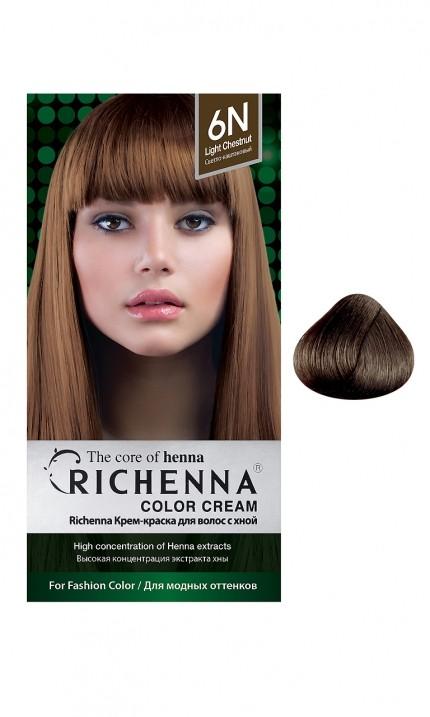 Richenna Крем-краска для волос с хной (6N Light Chestnut)Окрашивание волос<br>Крем-краска Richenna для волос с хной - 13 различных оттенков. Активные ингредиенты:<br>экстракт хны<br>протеины сои<br>масло семян жожоба<br>Действие:<br>Рекомендуется для безопасного изменения цвета волос.<br>Краска Риченна окрашивает полностью седые волосы.<br>Высокая концентрация экстракта хны позволяет снизить риск повреждения волос.<br>Придает волосам живой цвет и красивый блеск.<br><br>Применение:<br><br>Смешайте средство №1 и №2 в пропорции 1 : 1 непосредственно перед нанесением на волосы<br>Равномерно распределить смесь по всей длине волос.<br>Оставьте для воздействия на 20-30 мин. Количество можно уменьшить или увеличить в зависимости от объема и длины волос.<br>Смойте теплой водой.<br>Вымойте голову шампунем, тщательно ополосните.<br>Нанесите на волосы кондиционер, тщательно ополосните.<br><br>В комплекте:<br>крем-краска №1 - 60 г.; крем-окислитель №2 - 60 г.; лечебный шампунь с хной 10 мл.; виниловые перчатки; накидка; пластиковая тара; расческа для окрашивания.<br><br>Вес г: 200<br>Бренд: Richenna<br>Вид краски для волос: с хной<br>Оттенок краски для волос: 6N Light Chestnut