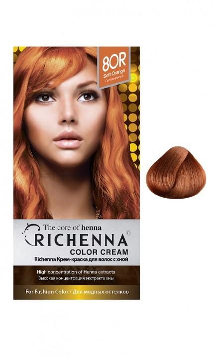Richenna Крем-краска для волос с хной (8OR Soft Orange)Окрашивание волос<br>Крем-краска Richenna для волос с хной - 13 различных оттенков. Активные ингредиенты:<br>экстракт хны<br>протеины сои<br>масло семян жожоба<br>Действие:<br>Рекомендуется для безопасного изменения цвета волос.<br>Краска Риченна окрашивает полностью седые волосы.<br>Высокая концентрация экстракта хны позволяет снизить риск повреждения волос.<br>Придает волосам живой цвет и красивый блеск.<br><br>Применение:<br><br>Смешайте средство №1 и №2 в пропорции 1 : 1 непосредственно перед нанесением на волосы<br>Равномерно распределить смесь по всей длине волос.<br>Оставьте для воздействия на 20-30 мин. Количество можно уменьшить или увеличить в зависимости от объема и длины волос.<br>Смойте теплой водой.<br>Вымойте голову шампунем, тщательно ополосните.<br>Нанесите на волосы кондиционер, тщательно ополосните.<br><br>В комплекте:<br>крем-краска №1 - 60 г.; крем-окислитель №2 - 60 г.; лечебный шампунь с хной 10 мл.; виниловые перчатки; накидка; пластиковая тара; расческа для окрашивания.<br><br>Вес г: 200<br>Бренд : Richenna<br>Вид краски для волос : с хной<br>Оттенок краски для волос : 8OR Soft Orange