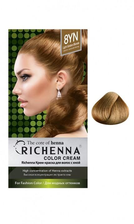 Richenna Крем-краска для волос с хной (8YN Light Golden Blonde)Окрашивание волос<br>Крем-краска Richenna для волос с хной - 13 различных оттенков. Активные ингредиенты:<br>экстракт хны<br>протеины сои<br>масло семян жожоба<br>Действие:<br>Рекомендуется для безопасного изменения цвета волос.<br>Краска Риченна окрашивает полностью седые волосы.<br>Высокая концентрация экстракта хны позволяет снизить риск повреждения волос.<br>Придает волосам живой цвет и красивый блеск.<br><br>Применение:<br><br>Смешайте средство №1 и №2 в пропорции 1 : 1 непосредственно перед нанесением на волосы<br>Равномерно распределить смесь по всей длине волос.<br>Оставьте для воздействия на 20-30 мин. Количество можно уменьшить или увеличить в зависимости от объема и длины волос.<br>Смойте теплой водой.<br>Вымойте голову шампунем, тщательно ополосните.<br>Нанесите на волосы кондиционер, тщательно ополосните.<br><br>В комплекте:<br>крем-краска №1 - 60 г.; крем-окислитель №2 - 60 г.; лечебный шампунь с хной 10 мл.; виниловые перчатки; накидка; пластиковая тара; расческа для окрашивания.<br><br>Вес г: 200<br>Бренд: Richenna<br>Вид краски для волос: с хной<br>Оттенок краски для волос: 8YN Light Golden Blonde