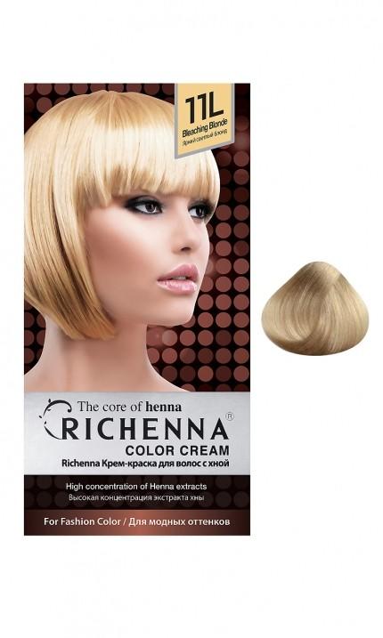 Richenna Крем-краска для волос с хной (11L Bleaching Blonde)Окрашивание волос<br>Крем-краска Richenna для волос с хной - 13 различных оттенков. Активные ингредиенты:<br>экстракт хны<br>протеины сои<br>масло семян жожоба<br>Действие:<br>Рекомендуется для безопасного изменения цвета волос.<br>Краска Риченна окрашивает полностью седые волосы.<br>Высокая концентрация экстракта хны позволяет снизить риск повреждения волос.<br>Придает волосам живой цвет и красивый блеск.<br><br>Применение:<br><br>Смешайте средство №1 и №2 в пропорции 1 : 1 непосредственно перед нанесением на волосы<br>Равномерно распределить смесь по всей длине волос.<br>Оставьте для воздействия на 20-30 мин. Количество можно уменьшить или увеличить в зависимости от объема и длины волос.<br>Смойте теплой водой.<br>Вымойте голову шампунем, тщательно ополосните.<br>Нанесите на волосы кондиционер, тщательно ополосните.<br><br>В комплекте:<br>крем-краска №1 - 60 г.; крем-окислитель №2 - 60 г.; лечебный шампунь с хной 10 мл.; виниловые перчатки; накидка; пластиковая тара; расческа для окрашивания.<br><br>Вес г: 200<br>Бренд : Richenna<br>Вид краски для волос : с хной<br>Оттенок краски для волос : 11L Bleaching Blonde