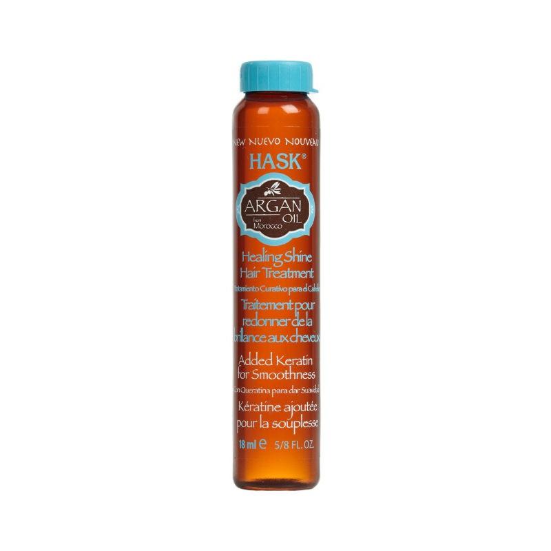 HASK Средство лечебное для придания блеска волосам с Аргановым маслом 18млБЕЗ: Сульфатов, парабенов, фталатов, спирта, искусственных красителей и ГлютенаУкрепляет и восстанавливаетВосстановить и укрепить поврежденные, сухие и ломкие или окрашенные <br>волосы —поможет лечебное средство для придания блеска волосам с <br>аргановым маслом. Это легкое не содержащие спирта средство мгновенно <br>впитывается волосами, не оставляя маслянистого оттенка, при этом масло <br>Аргана оказывает лечебный эффект и восстанавливает структуру волос, в <br>результате даже самые поврежденные волосы становятся шелковисто-мягкими и<br> супер-глянцевыми. Это не удивительно, аргановое масло называют «чудо <br>маслом»! Оно идеально подходит для сухих, поврежденных или окрашенных <br>волос.Способ применения: может использоваться как на влажных так и на сухих<br> волосах. Нанесите не большое количество на волосы избегая корневой <br>зоны. Не смывать. Уложите волосы.<br><br>Вес г: 68<br>Бренд : HASK<br>Объем мл: 18<br>Тип волос : сухие, поврежденные, окрашенные<br>Действие : укрепление, восстановление, блеск и эластичность<br>Тип средства для волос : масло<br>Страна производитель : США