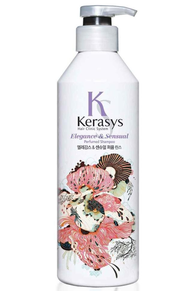 KeraSys Кондиционер для волос Элеганс для блеска и шолковистостиKeraSys<br>Керасис Парфюмированная линия ЭЛЕГАНС<br>Кондиционер для волос Kerasys Elegance &amp;amp; Sensual ParfumedСпециально разработанная формула ДЛЯ ТОНКИХ И ОСЛАБЛЕННЫХ ВОЛОС, укрепляет и восстанавливает структуру волос по всей длине. Волосы обретают жизненную силу, эластичность и объем. Содержит витамины А и Е, масло оливы и масло ши.Аромат: изысканный и грациозный аромат с нотками лилового цвета для современной и утонченной натуры. Подчеркнет Ваш стиль и элегантность.Парфюмерная композиция:<br>Начальная нота: цветы яблони, ирис.<br>Срединная нота: тубероза, иланг-иланг, фиалка, гиацинт.<br>Конечная нота: сандал, рисовая мука, мускус.Объем: 600 мл<br><br>Вес г: 650<br>Бренд : KeraSys<br>Объем мл: 600<br>Тип волос : тонкие и ослабленные<br>Действие : увлажнение, восстановление, для объема, блеск и эластичность<br>Тип средства для волос : кондиционер<br>Страна производитель : Корея