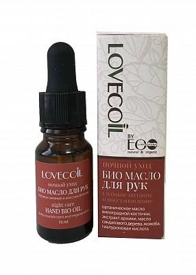 Ecolab LovEcOil Масло-БИО для рук ночной уход глубокое питание и восстановлениеДля тела<br>Комплекс масел интенсивно восстанавливает кожу рук, разглаживает, увлажняет, смягчает, оказывает антиоксидантное действие. Тонизирует кожу, способствует регенерации клеток, омолаживает. Активные ингредиенты: органическое масло виноградной косточки, экстракт  арники, масло сандалового дерева, жожоба, гиалуроновая кислота.Преимущества: насыщенный состав, быстрый результат. Подходит для обертываний: нанести на кожу рук масло, надеть косметические перчатки, подождать 20 мин., излишки средства удалить салфеткой.<br><br>Вес г: 15<br>Бренд : Ecolab<br>Объем мл: 10<br>Средство для рук : масло, для рук и ногтей<br>Страна производитель : Россия