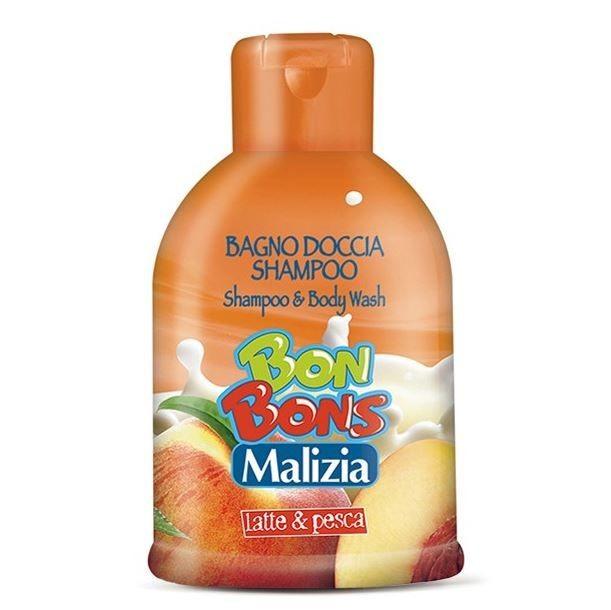 MALIZIA ДЛЯ ДЕТЕЙ Bon Bons Шампунь-пена для душа 2в1 MILK AND PEACHMalizia<br>Malizia Шампунь детский (0+) для мытья волос и тела Milk &amp;amp; peach серии «BonBons» 500мл - cредство 2 в 1 предназначено для ухода за волосами, кожей головы и тела. Средство создает мягкую и пышную пену, бережно очищает тело, делает волосы чистыми и гладкими, смягчает кожу.Одобрено дерматологами.<br><br>Вес г: 550<br>Бренд : Malizia<br>Объем мл: 500<br>Страна производитель : Малазия