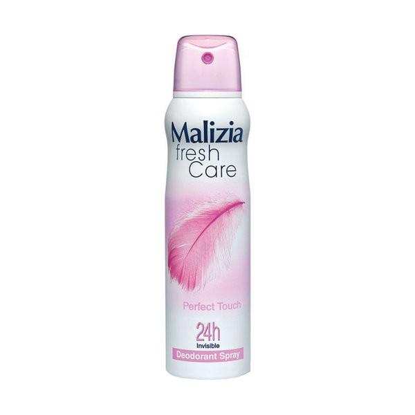 MALIZIA Део-антиперсперант женский Perfect touchMalizia<br>Аэрозольный дезодорант-антиперспирант Malizia Fresh Care станет незаменимым помощником в борьбе с потоотделением и неприятным запахом. Его мягкая формула регулирует выделение пота и дарит ощущение чистоты и свежести на целый день. Средство не содержит спирта и идеально подходит для чувствительной, подверженной аллергии кожи. Парфюмерная композиция обладает тонким деликатным ароматом. Активные компоненты обеспечивают бережный уход, смягчая и успокаивая нежную кожу. Благодаря аэрозольной системе дезодорант удобно наносится и быстро высыхает, не оставляя пятен на одежде. С дезодорантом Malizia вы будете чувствовать себя более уверенно и комфортно на протяжении всего дня.<br><br>Вес г: 180<br>Бренд: Malizia<br>Объем мл: 150<br>Тип дезодоранта: спрей<br>Страна производитель: Италия
