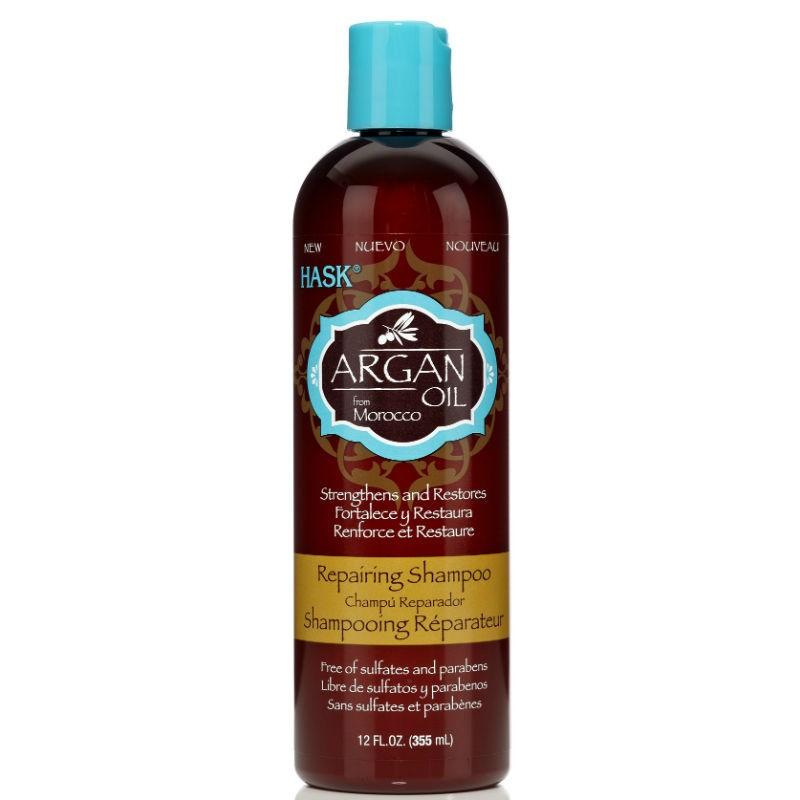 HASK Шампунь восстанавливающий для волос с Аргановым маслом 355млHask<br>Восстанавливающий шампунь для волос с Аргановым маслом.БЕЗ: Сульфатов, парабенов, фталатов, спирта, искусственных красителей и ГлютенаЕсли у Вас поврежденные, сухие и ломкие  или окрашенные волосы — возродить и восстановить внешний вид  волос поможет восстанавливающий шампунь для волос с Аргановым маслом.<br> Благодаря уникальному марокканскому маслу Аргана этот шампунь проникает<br> в стержень волоса, мягко очищает его и одновременно восстанавливает <br>поврежденную структуру, в результате чего даже самые поврежденные волосы<br> становятся шелковисто-мягкими и супер-глянцевыми. Это не удивительно,  <br>аргановое масло называют «чудо маслом»! Оно идеально подходит для сухих,<br> поврежденных или окрашенных волос, живительный запах этого шампуня <br>затронет и возвысит Ваши чувства.Способ применения: нанесите на влажные волосы. Массируйте волосы в <br>ароматной, густой и сочной мыльной пене, тщательно промойте и повторяйте<br> так часто, как вам нравится. Для комплексного  восстановления, <br>здорового вида волос, далее используйте Восстанавливающий кондиционер <br>HASK с аргановым маслом.<br><br>Вес г: 405<br>Бренд: HASK<br>Объем мл: 355<br>Тип волос: сухие, поврежденные, окрашенные<br>Действие: восстановление<br>Тип средства для волос: шампунь<br>Страна производитель: США
