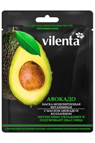 VILENTA Маска тканевая кремовая АВОКАДО моделирующая витаминная с маслом Авокадо и КоллагеномVilenta<br>Шелковистая маска, обогащенная жирными кислотами и фитостеролами натурального маслами авокадо, коллагеном и гиалуроновой кислотой, оказывает эффективное и направленное удерживающее влагу, разглаживающее морщинки и восстанавливающее контуры лица действие. Очень нежная слегка перламутровая текстура и превосходный аромат подарят ощущение удовольствия и комфорта.<br><br>Вес г: 35<br>Бренд : Vilenta<br>Объем мл: 28<br>Тип кожи : все типы кожи<br>Консистенция маски : тканевая<br>Часть лица : лицо<br>По времени суток : дневной уход<br>Назначение маски : увлажняющая, восстанавливающая, омолаживающая, подтягивающая<br>Страна производитель : Китай