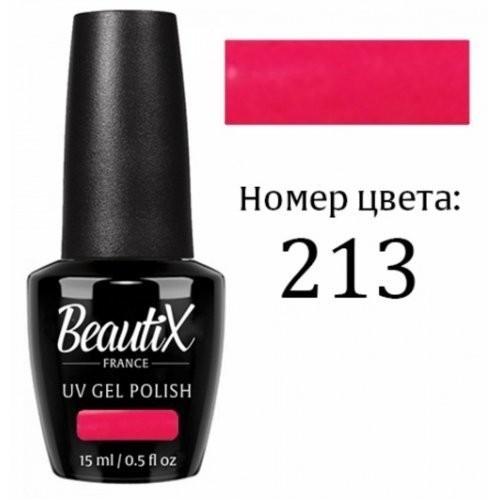 Beautix Гель-лак для ногтей 15 мл (№213)Beautix<br>Beautix – французские гель-лаки премиального качества. Материал отличается простотой в нанесении, плотностью цветов и стойкостью покрытия более 2-х недель без сколов и трещин. Роскошная палитра цветов и регулярно обновляющиеся коллекции будут по вкусу даже самым притязательным мастерам. При этом гель-лаки абсолютно безопасны, не содержат вредных веществ и практически не имеют запаха.<br>  Способ применения:  Делаем маникюр любым удобным вам способом. Придаем форму, бафим.  Обезжириваем ногти жидкостью для устранения лишней влаги и лучшей сцепки поверхности ногтя с материалом.  Наносим базовое покрытие Beautix тонким слоем длинными плавными движениями сверху вниз, отступая от кутикулы на 1-2 мм и не касаясь боковых валиков. Запечатываем торец. Просушиваем в LED-лампе 30 секунд, в UV-лампе - 2 минуты.  Наносим цвет. Первый слой очень тонко, так же длинными плавными движениями максимально близко к кутикуле и боковым валикам, но, не касаясь и не затрагивая их. Запечатываем торец. Полимеризуем в LED-лампе 30 секунд, в UV-лампе - 2 минуты. Покрытие Beautix достаточно плотное, яркое и даже первый слой ложится без проплешин и полос. Вторым более плотным слоем выравниваем цвет (если нужно), снова запечатываем ноготок и полимеризуем.  Наносим верхнее покрытие Beautix (необходимо для защиты от царапин, сколов и выцветания), запечатываем торец, полимеризуем в LED-лампе 30 секунд, в UV-лампе - 2 минуты, достаем из лампы и даем ноготкам остыть 1 минутку. Снимаем липкий слой жидкостью для удаления дисперсии Beautix, после чего покрытие приобретает стойкий глянцевый блеск.  Состав:  Этоксилат (5) Пентаэритритолтетраакрилат, 2-гидроксипропилметакрилат, триметилолпропантриакрилат, 2-гидроксиэтилметакрилат, 1-гидроксициклогексилфенилкетон, Н-диметилакриламид, этилен дистеарамид.  Продукция французской марки Beautix завоевала сердца тысяч российских мастеров, благодаря премиальному качеству, долговечности и безопасности гель-лаков и ст