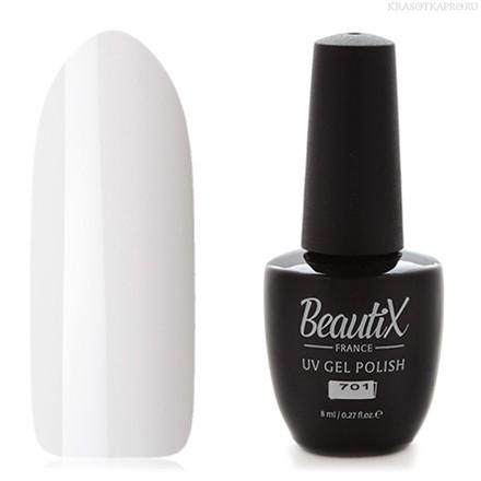 Beautix Гель-лак для ногтей 15 мл (№701)Beautix<br>Beautix – французские гель-лаки премиального качества. Материал отличается простотой в нанесении, плотностью цветов и стойкостью покрытия более 2-х недель без сколов и трещин. Роскошная палитра цветов и регулярно обновляющиеся коллекции будут по вкусу даже самым притязательным мастерам. При этом гель-лаки абсолютно безопасны, не содержат вредных веществ и практически не имеют запаха.<br>  Способ применения:  Делаем маникюр любым удобным вам способом. Придаем форму, бафим.  Обезжириваем ногти жидкостью для устранения лишней влаги и лучшей сцепки поверхности ногтя с материалом.  Наносим базовое покрытие Beautix тонким слоем длинными плавными движениями сверху вниз, отступая от кутикулы на 1-2 мм и не касаясь боковых валиков. Запечатываем торец. Просушиваем в LED-лампе 30 секунд, в UV-лампе - 2 минуты.  Наносим цвет. Первый слой очень тонко, так же длинными плавными движениями максимально близко к кутикуле и боковым валикам, но, не касаясь и не затрагивая их. Запечатываем торец. Полимеризуем в LED-лампе 30 секунд, в UV-лампе - 2 минуты. Покрытие Beautix достаточно плотное, яркое и даже первый слой ложится без проплешин и полос. Вторым более плотным слоем выравниваем цвет (если нужно), снова запечатываем ноготок и полимеризуем.  Наносим верхнее покрытие Beautix (необходимо для защиты от царапин, сколов и выцветания), запечатываем торец, полимеризуем в LED-лампе 30 секунд, в UV-лампе - 2 минуты, достаем из лампы и даем ноготкам остыть 1 минутку. Снимаем липкий слой жидкостью для удаления дисперсии Beautix, после чего покрытие приобретает стойкий глянцевый блеск.  Состав:  Этоксилат (5) Пентаэритритолтетраакрилат, 2-гидроксипропилметакрилат, триметилолпропантриакрилат, 2-гидроксиэтилметакрилат, 1-гидроксициклогексилфенилкетон, Н-диметилакриламид, этилен дистеарамид.  Продукция французской марки Beautix завоевала сердца тысяч российских мастеров, благодаря премиальному качеству, долговечности и безопасности гель-лаков и ст