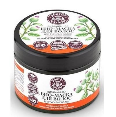 Доктор Репейник маска для волос БИО витаминная 300 мл.Доктор Репейник<br>Маска для волос Витаминная на основе репейного масла и облепихи эффективно питает, насыщает витаминами и восстанавливает тусклые безжизненные волосы, возвращая блеск, здоровье и силу волосам. Состав: Aqua with infusions of Hippophae Rhamnoides Fruit Extract (экстракт ягод облепихи), Arctium Lappa Root Extract*, Hydrogenated Soybean Oil (масло репейника), Panax Ginseng Root Extract* (экстракт корня женьшеня), Rubus Idaeus Seed Oil* (масло малины), Vaccinium Macrocarpon Seed Oil (масло клюквы), Prunus Armeniaca Kernel Oil* (масло абрикосовых косточек); Cetearyl Alcohol, Cetrimonium Chloride, Distearoylethyl Hydroxyethylmonium Methosulfate, Panthenol (провитамин В5), Glyceryl Linoleate, Glyceryl Oleate, Glyceryl Linolenate (витамин F), Guar Hydroxypropyltrimonium Chloride, Benzyl Alcohol, Benzoic Acid, Sorbic Acid, Citric Acid, Parfum.*- органические ингредиентыОбъем 300 мл<br><br>Вес г: 320<br>Бренд : Доктор Репейник<br>Объем мл: 300<br>Тип волос : тонкие и ослабленные, длинные и секущиеся<br>Действие : питание, восстановление, блеск и эластичность<br>Тип средства для волос : маска<br>Страна производитель : Россия