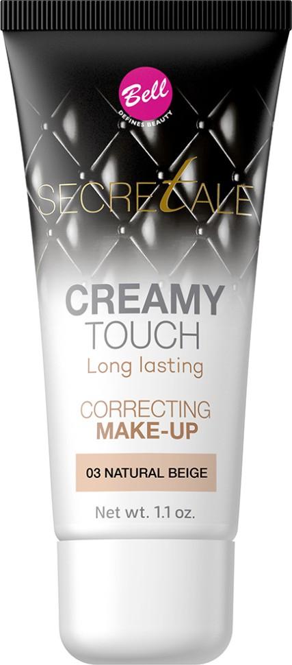 Bell Тональный крем кремовый маскирующий несовершенства кожи Secretale Creamy Touch Correcting Make-up (03 светло-бежевый)Bell<br>Разглаживающий тональный крем, придающий эффект бархатистой кожи. Благодаря кремовой текстуре после применения на коже не остаются разводы, а любые недостатки остаются идеально скрыты. Также устраняет блеск кожи, оставляя ее матовой в течение многих часов. Увлажняющие свойства придают коже естественный, здоровый вид без эффекта маски.<br>Руководство по выбору:<br>Рекомендуется использовать с продуктами для макияжа Bell линии SecretaleСпособ применения:<br>Нанести тонким слоем на кожу лицаСостав:<br>Ingredients: Aqua (Water), Cyclopentasiloxane, PEG/PPG-18/18 Dimethicone, Cyclohexasiloxane, Dimethiconol, Sodium Chloride, Ethylhexyl Methoxycinnamate (Octinoxate), C30-45 Alkyl Methicone, C30-45 Olefin, Polysorbate 80, Tocopherol, Ascorbyl Palmitate, Ascorbic Acid, Ethylhexylglycerin, Trimethoxycaprylylsilane, PEG-8, Citric Acid, BHT, Phenoxyethanol, Parfum (Fragrance), Alpha-isomethyl Ionone, Benzyl Salicylate, Hexyl Cinnamal, CI 77491, CI 77492, CI 77499 (Iron Oxides), CI 77891 (Titanium Dioxide)<br><br>Вес г: 99<br>Бренд : Bell<br>Объем мл: 30<br>Упаковка : тюбик<br>Тип кожи : все типы кожи<br>Степень покрытия : плотная<br>Эффект от нанесения : увлажение<br>Тип тонального средства : крем<br>Страна производитель : Польша