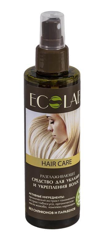 Ecolab Средство для укладки и укрепления волос РазглаживающееДля волос<br>Средство для укладки и укрепления волос содержит более 97% ингредиентов растительного происхождения Значительно облегчает расчесывание волос, разглаживая их. Продукт не содержит парабенов и силиконов.Масло жожобаСостав масла богат аминокислотами в составе белков. По своей структуре они сходны с коллагеном. Коллаген именно то вещество, которое помогает поддерживать упругость кожи, а значит, продлевать ее молодость.<br>Экстракт гамамелиса широко используют в косметических и лечебных целях, он оказывает антисептическое и тонизирующее действие.<br>Экстракт гибискуса тонизирует и укрепляет кожу, обладает противовоспалительным действием.<br><br>Вес г: 250<br>Бренд : Ecolab<br>Объем мл: 200<br>Тип волос : нормальные, смешанные, поврежденные, вьющиеся, все типы волос<br>Страна производитель : Россия<br>Средство стайлинга : спрей<br>Степень фиксации : средняя<br>Эффект стайлинга : разглаживание