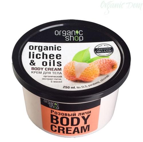 Organic shop Крем для тела Розовый личиOrganic shop<br>Organic Shop легкий крем для тела на основе органического экстракта личи и 5 масел: тиаре, авокадо, какао, лимона и герани, насыщает кожу витаминами, увлажняет и питает, делая её более нежной и шелковистой.Ингредиенты INCI: Aqua, Organic Butyrospermum Parkii органическое масло карите, Cetearyl Alcohol, Glycerin, Polyglyceryl-3 Methylglucose Distearate, Organic Litchi Fruit Extract органический экстракт личи, Gardenia Florida Oil масло тиаре, Persea Gratissima Oil масло авокадо, theobroma Cacao Seed Butter масло какао, Citrus Medica Limonum Peel Oil масло лимона, Geranium Maculatum Oil , Sodium Stearoyl Gllutamate, Benzyl Alcohol, Benzoic Acid, Sorbic Acid, Iron Oxides, Parfum. Использование: нанесите на чистую сухую кожу легкими массирующими движениями.<br><br>Вес г: 300<br>Бренд : Organic shop<br>Объем мл: 250<br>Страна производитель : Россия