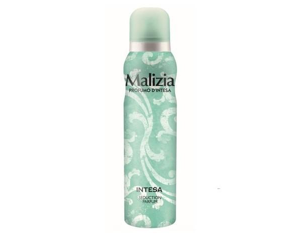 MALIZIA Део-спрей женский PARFUM DEOD INTESAMalizia<br>Новый женский парфюмированный дезодорант  для тела Malizia Intesa Deodorant сочетает в себе функции качественного средстванеприятного запаха и туалетной воды.<br>В основе этого обворожительного букета лежит поистине прекрасное сочетание жасмина, туберозы и сандалового дерева. Насыщенный амбровый аромат окутает в теплую, таинственную дымку. <br>Этот глубокий, благоухающий аромат создан для женщины, которая знает, как очаровать. Женственный, приятгательный и чувственный, он подарит хорошее настроение уже с самого утра.<br><br>Вес г: 170<br>Бренд : Malizia<br>Объем мл: 150<br>Тип дезодоранта : спрей<br>Страна производитель : Италия