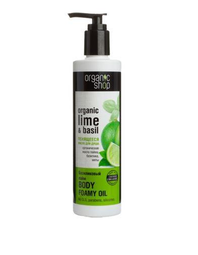 Organic shop Пенящееся масло для душа Базиликовый лаймOrganic shop<br>Органическое масло лайма насыщает кожу витаминами, увлажняет и тонизирует, придавая ей упругость и эластичность. Органическое масло базилика способствует улучшению структуры кожи, омолаживая её. Органическое масло мяты мягко освежает кожу и защищает ее.Ингредиенты INCI: Aqua, Cocamidopropyl Betaine, Decyll Glucoside, Sucrose Laurate, Sucrose Dilaurate, Sucrose trilaurate, Olea Europaea Fruit Oil, Helianthus Annuus Seed Oil, Organic Citrus Aurantifolia Oil, Organic Ocimum Basilicum Oil, Organic Mentha Piperita Oil, Glicerin, Sorbitol, Benzoic Acid, Sorbic Acid, Benzyl Alcohol, Parfum.Использование: небольшое количество масла нанести на влажную кожу, вспенить и тщательно смыть водой. Условия и сроки хранения: Срок годности: см. на упаковке. Хранить в местах недоступных для детей. Не использовать после истечения срока годности.<br><br>Вес г: 320<br>Бренд : Organic shop<br>Объем мл: 280<br>Страна производитель : Россия