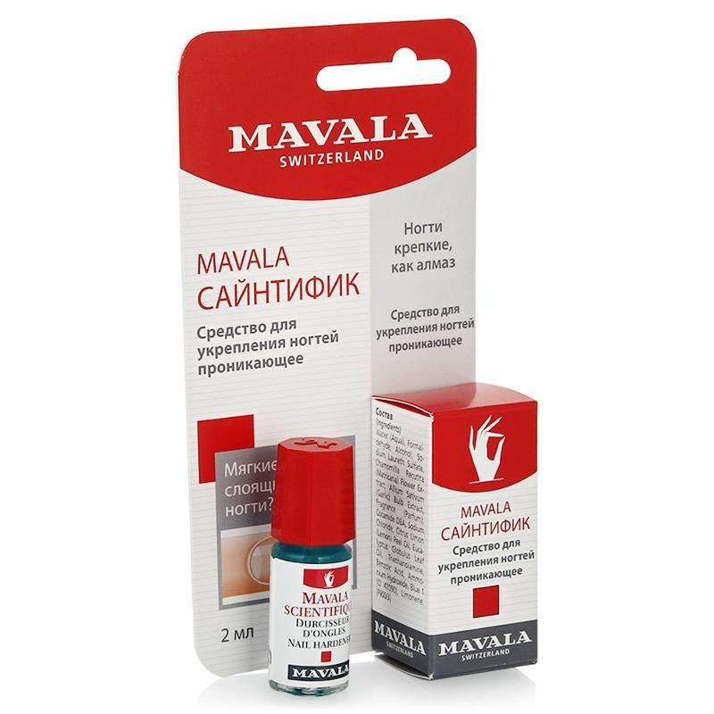 Mavala Средство против ломки и раздваивания ногтя Scientifique 2 млMavala<br>Используя средство Mavala Scientifique, Вы навсегда забудете о мягких, растрескивающихся и расслаивающихся ногтях. Как известно, кончик ногтя является самой уязвимой частью ногтевой пластины, а значит, требует особого внимания по уходу за ним. Мавала Сайнтифик быстро укрепляет растрескивающиеся, мягкие, расслаивающиеся ногти, делая их здоровыми и сильными. Специальная формула делает ногтевую пластинку твердой, что позволяет ногтю восстанавливать свой нормальный рост. Начинает действовать сразу после нанесения. Не является ни основой, ни лаком.Способ применения: удалите остатки старого лака, тщательно очистив ноготь от жирной пленки. Наносить средство лучше всего специальной кисточкой на самый край ногтя. После чего необходимо просушить ноготь в течение минуты для большей фиксации. Применяется 1 или 2 раза в неделю. Рекомендуется не наносить средство Mavala Scientifique под ноготь, на кутикулу и не попадать на кожу. В противном случае Ваш эпидермис может затвердеть. Если это средство всё-таки попало на кожу, необходимо протереть ее ватным тампоном.Состав: Water (Aqua), Formaldehyde, Alcohol, Sodium Laureth Sulfate, Chamomilla Recutita (Matricaria) Flower Extract, Allium Sativum (Garlic) Bulb Extract, Fragrance (Parfum), Cocamide DEA, Sodium Chloride, Citrus Limon (Lemon) Peel Oil, Eucalyptus Globulus Leaf Oil, Triethanolamine, Benzoic Acid, Ammonium Hydroxide, Blue 1 (CI 42090), Limonene. Возраст: 18+<br>Объем: 5 мл<br>Производитель: Швейцария<br><br>Вес г: 20<br>Бренд: Mavala<br>Объем мл: 2<br>Тип средства для ногтей: укрепление ногтей