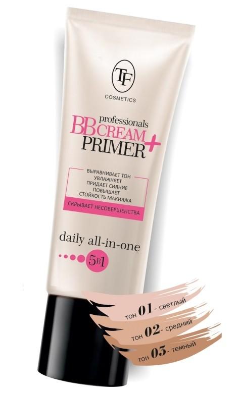 ТРИУМФ TF Крем тональный и основа под макияж увлажняющая professional BB Cream+Primer (02 средний)ТРИУМФ TF<br>МНОГОФУНКЦИОНАЛЬНОЕ средство 5в1 сочетает в себе свойства ВВ крема и отличной основы под макияж.<br><br>Вес г: 20<br>Бренд : Триумф TF<br>Упаковка : тюбик<br>Тип кожи : все типы кожи<br>Степень покрытия : средняя<br>Эффект от нанесения : увлажение<br>Тип тонального средства : основа<br>Страна производитель : Польша