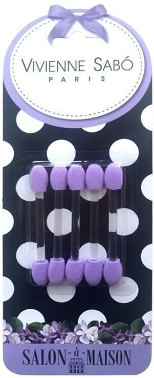 Vivienne Sabo Аппликаторы Набор для теней 5штVivienne Sabo<br>Двусторонние аппликаторы из современного материала - микропористого латекса, благодаря которому:тени наносятся равномерно и легко растушевываются;аппликаторы можно мыть и использовать несколько раз;аппликаторы можно использовать как для сухого, так и для влажного нанесения теней;мягкий материал не раздражает кожу.Удобная форма спонжа позволяет выполнять макияж в различной технике.Удлиненная прозрачная ручка - аппликатор удобно держать в руке при выполнении макияжа.<br><br>Вес г: 15<br>Бренд : Vivienne Sabo<br>Страна производитель : Франция<br>Материал кистей : латекс<br>Вид кистей : аппликатор<br>Предназначение кистей : для теней<br>Тип набора : кисти для макияжа<br>Длинна см: 6