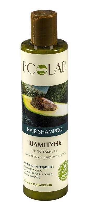 Ecolab Шампунь для слабых и секущихся волос ПитательныйДля волос<br>Шампуни содержат более 97% ингредиентов растительного происхождения.<br>органические экстракты и масла;<br>масло жожоба;<br>органическое масло зародышей пшеницы;<br>экстракт гибискуса.<br>Эффективно восстанавливает поврежденные волосы, питает, укрепляет и защищает от вредных факторов, таких как укладка феном и солнечные лучи. Продукт не содержит SLS, парабенов и силиконов.Масло авокадо<br>Авокадо способствует восстановлению липидного баланса кожи, способствует синтезу новых коллагеновых связей, а значит, продлевает и улучшает жизнь клеток нашей кожи.<br>Масло жожоба<br>Состав масла богат аминокислотами в составе белков. По своей структуре они сходны с коллагеном. Коллаген именно то вещество, которое помогает поддерживать упругость кожи, а значит, продлевать ее молодость.<br>Органический экстракт иланг-иланга<br>Иланг-иланг оказывает антивозрастное, смягчающее и тонизирующее действие на клетки кожи.<br><br>Вес г: 300<br>Бренд: Ecolab<br>Объем мл: 250<br>Тип волос: смешанные, поврежденные, тонкие и ослабленные, длинные и секущиеся<br>Действие: питание, укрепление, блеск и эластичность, УФ защита, термозащита<br>Тип средства для волос: шампунь<br>Страна производитель: Россия
