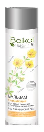 Baikal Herbals Бальзам для волос Очищающий для волос склонных к быстрому загрязнениюБальзам создан на основе экстрактов растений Байкала специально для волос, которые быстро становятся жирными. Кедр гималайский освежает, обладает бактерицидным действием, способствует быстрому восстановлению волос. Полынь холодная насыщает корни витамином С, укрепляет их, придаёт причёске лёгкость и пышность. Лапчатка серебристая регулирует работу сальных желёз, возвращает волосам природную красоту и блеск. Бальзам бережно ухаживает за волосами, регулируя баланс кожи головы. Облегчает расчёсывание и укладку, придаёт волосам легкость и свежесть. Не содержит парабенов и PEG.<br><br>Вес г: 300<br>Бренд : Baikal Herbals<br>Объем мл: 280<br>Тип волос : жирные<br>Действие : укрепление, восстановление, для объема, легкое расчесывание, блеск и эластичность, глубокое очищение<br>Тип средства для волос : бальзам<br>Страна производитель : Россия