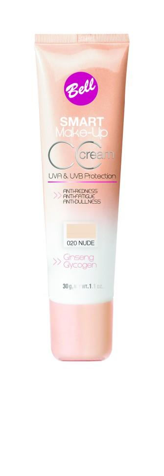Bell Флюид комплексный CC Cream Smart Make-up (20 nude)Bell<br>Редуцирует покраснения, устраняет мелкие недостатки кожи, придает коже ровный тон. Содержит UVA и UVB фильтры, защищающие кожу от вредного действия солнечных лучей. Способ применения: нанести тонким слоем на кожу лица кистью или кончиками пальцев.<br><br>Вес г: 75<br>Бренд : Bell<br>Объем мл: 30<br>Упаковка : тюбик<br>Тип кожи : все типы кожи<br>Степень покрытия : средняя<br>Эффект от нанесения : выравнивающий<br>Тип тонального средства : флюид<br>Страна производитель : Польша