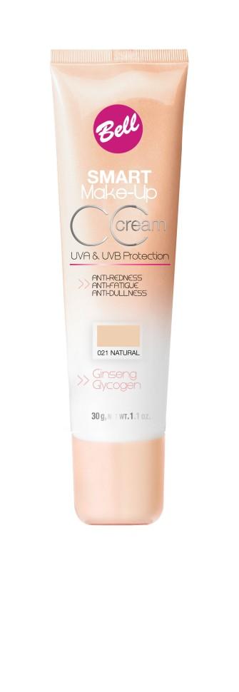 Bell Флюид комплексный CC Cream Smart Make-up (21 natural)Bell<br>Редуцирует покраснения, устраняет мелкие недостатки кожи, придает коже ровный тон. Содержит UVA и UVB фильтры, защищающие кожу от вредного действия солнечных лучей. Способ применения: нанести тонким слоем на кожу лица кистью или кончиками пальцев.<br><br>Вес г: 75<br>Бренд : Bell<br>Объем мл: 30<br>Упаковка : тюбик<br>Тип кожи : все типы кожи<br>Степень покрытия : средняя<br>Эффект от нанесения : выравнивающий<br>Тип тонального средства : флюид<br>Страна производитель : Польша