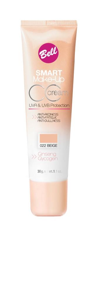 Bell Флюид комплексный CC Cream Smart Make-up (22 beige)Bell<br>Редуцирует покраснения, устраняет мелкие недостатки кожи, придает коже ровный тон. Содержит UVA и UVB фильтры, защищающие кожу от вредного действия солнечных лучей. Способ применения: нанести тонким слоем на кожу лица кистью или кончиками пальцев.<br><br>Вес г: 75<br>Бренд : Bell<br>Объем мл: 30<br>Упаковка : тюбик<br>Тип кожи : все типы кожи<br>Степень покрытия : средняя<br>Эффект от нанесения : выравнивающий<br>Тип тонального средства : флюид<br>Страна производитель : Польша