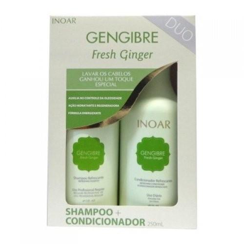 Inoar Fresh Ginger Увлажняющий шампунь+кондиционер 250 млInoar<br>Домашняя линия<br>Комплекс Fresh Ginger – для тонких, сухих, быстро теряющих объем и свежесть волос.<br>Сохраняет свежесть волос целый день<br>Сохраняет объем у корней<br>Усиливает блеск<br>В кротчайшие сроки восстанавливает ослабленные волосы, возвращая жизненную силу и прочность. Специальный компонент комплекса - экстракт имбиря, он обладает освежающим эффектом, тонизирует и стимулирует приток крови к коже головы, снимая зуд и усталость. Комплекс имеет холодящий ментоловый эффект, потому оказывает прекрасное бодрящее действие. Укрепляет волосяные фолликулы, блокирует выпадение волос. Он мягко и бережно воздействует на волосы, не открывая кутикулу, тем самым, не позволяя краске или кератину вымыться из кортекса. Fresh Ginger питает волосы витаминами, кальцием, цинком и железом. Останавливает сечение благодаря интенсивному увлажнению, эффективно очищает, нормализует работу сальных желез. Fresh Ginger - универсальное средство для волос любых типов, но особенно рекомендован для восстановления тонких, тусклых и склонных к быстрому загрязнению волос. Fresh Ginger продлевает эффект свежести, приподнимая волосы у корней. Он разглаживает их, убирает пушистость, сводит сечение волос на нет, придает им эластичность. Уже после первых применений, тусклые волосы наполняются блеском. Прическа выглядит опрятно и к завершению дня волосы не выглядят засаленными.<br><br>Вес г: 300<br>Бренд: Inoar<br>Объем мл: 250
