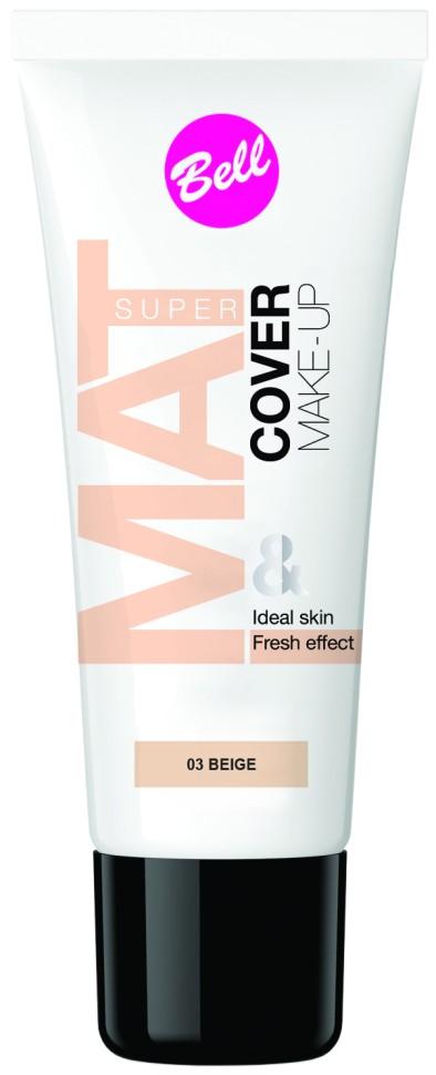 Bell Флюид матирующий тональный, стойкий эффект Super Mat Cower Make-up Foundation (03 бежевый)Bell<br>Обеспечивает матовый макияж в течение всего дня. Эффективно скрывает недостатки кожи, гарантируя свежий и здоровый тон лица.<br>Руководство по выбору:<br>Матовый стойкий макияж в течение всего дняСпособ применения:<br>Нанести тонким слоем на кожу лицаОсобенности состава:<br>Содержит комплекс активных витаминов C и E, которые ухаживают и увлажняют кожу<br>Состав:<br>Ingredients: Aqua, Cyclopentasiloxane, PEG/PPG-18/18 Dimethicone, Cyclohexasiloxane, Dimethiconol, Sodium Chloride, Ethylhexyl Methoxycinnamate, C30-45 Alkyl Methicone, C30-45 Olefin, Polysorbate 80, Tocopherol, Ascorbyl Palmitate, Ascorbic Acid, Ethylhexylglycerin, Trimethoxycaprylylsilane, PEG-8, Citric Acid, BHT, Phenoxyethanol, Parfum, Alpha-isomethyl Ionone, Benzyl Salicylate, Butylphenyl Methylpropional, Hexyl Cinnamal, Hydroxyisohexyl 3-Cyclohexene Carboxaldehyde, CI 77491, CI 77492, CI 77499, CI 77891<br><br>Вес г: 75<br>Бренд : Bell<br>Объем мл: 30<br>Упаковка : тюбик<br>Тип кожи : все типы кожи<br>Степень покрытия : легкая<br>Эффект от нанесения : матирующий<br>Тип тонального средства : флюид<br>Страна производитель : Польша