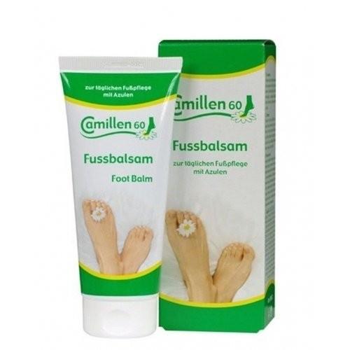 Camillen Бальзам для ног 100 мл FussbalsamCamillen 60<br>Универсальный бальзам, рекомендованный для ежедневного ухода за кожей ног. Замедляет процесс образования орговелостей и позволяет продлить эффект педикюра. Освежает кожу, снимает усталость, воспаления, сухость, предотвращает появление огрубелостей и трещин. Входящий в состав бальзама алантоин способствует естественной регенерации кожи, смягчает и эффективно увлажняет кожу ног. Бальзам обладает антисептическими свойствами, предотвращает появление грибков и зуда между пальцами.<br><br>Вес г: 20<br>Бренд: Camillen