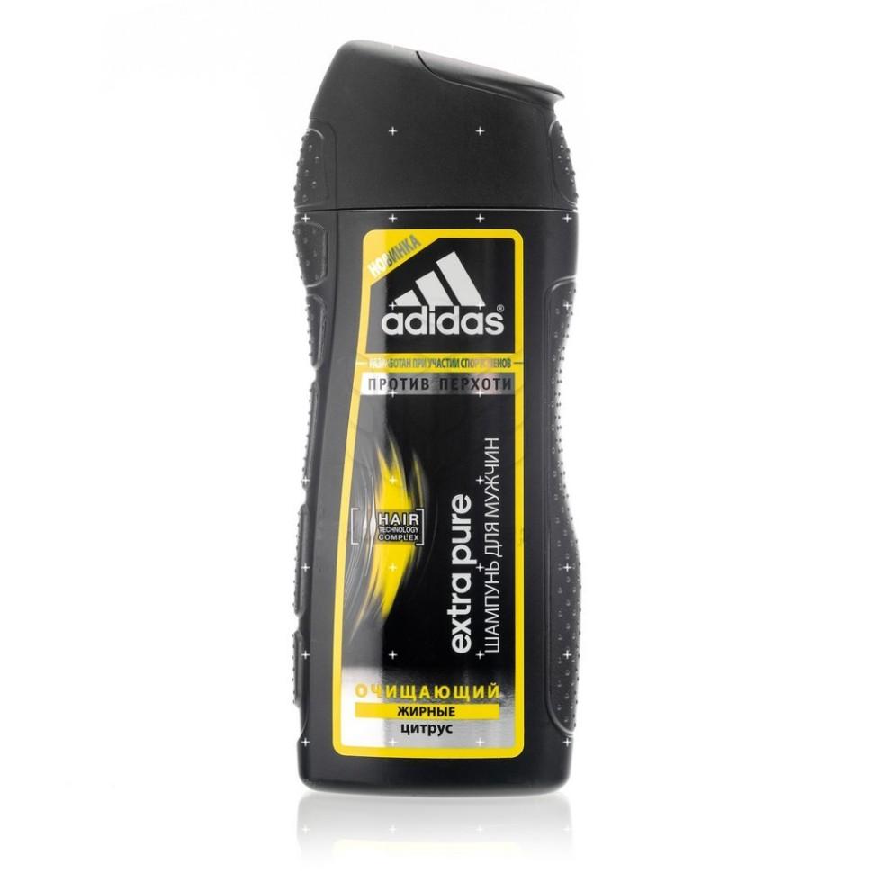 Adidas Шампунь для мужчин Extra Pure очищающий против перхоти с цитрусомЭкстремальный климат, занятия спортом и, как следствие, частое мытье головы способствует ослаблению волос. Мужчинам нужен шампунь, который не повреждает волосы даже при частом использовании. <br>Шампунь Adidas Extra Pure против перхоти разработан при участии спортсменов. Его инновационная формула c комплексом Hair Technology обеспечивает глубокое очищение волос, склонных к жирности.<br>Комплекс Hair Technology – это уникальное сочетание двух основных компонентов, известных своим действием: <br>- Пантенол: интенсивное увлажнение; <br>- Катионный полимер: облегчение расчесывания волос. <br>Пиритион цинка помогает бороться с перхотью.<br>Формула шампуня с ароматом цитрусовых дарит коже головы ощущение чистоты, а волосам - здоровый внешний вид. <br>Технология Без силикона исключительно бережно воздействует на волосы.<br><br>Вес г: 250<br>Бренд : Adidas<br>Объем мл: 200<br>Страна производитель : Испания