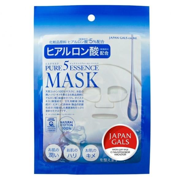 JAPONICA JAPAN GALS Маска для лица с Гиалуроновой кислотой 1штМаски для лица<br>Маска с гиалоуроновой кислотой. Гиалоуроновая кислота содержится в любом живом организме, и 1 мл способен удержать 6 литров воды. Благодаря гиалоуроновой кислоте, кожа удерживает влагу, восстанавливая упругость. Так же в состав входит экстракт сои, ферментированное соевое молоко (увлажнение), витамин С (природный антиоксидант) , что делает маску по-настоящему люксовым уходом. Маска глубоко увлажняет, возвращает упругость и выравнивает текстуру кожи.<br><br>Вес г: 610<br>Объем мл: 600<br>Тип кожи : все типы кожи<br>Консистенция маски : тканевая<br>Часть лица : лицо<br>По времени суток : дневной уход<br>Назначение маски : увлажняющая, питательная, очищающая<br>Страна производитель : Япония