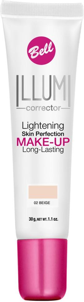 Bell Флюид суперстойкий корректирующий и придающий сияние Illumi Lightening Skin Perfection Make-up (02 бежевый)Bell<br>Флюид значительно улучшает состояние кожи лица, придавая здоровый вид и естественное сияние серой и усталой коже.  Редуцирует покраснения, устраняет мелкие недостатки кожи, придает коже ровный тон. Содержит UVA и UVB фильтры, защищающие кожу от вредного действия солнечных лучей.<br>Руководство по выбору:<br>Здоровый вид и естественное сияние для кожиСпособ применения:<br>Нанести тонким слоем на кожу лицаСостав:<br>Ingredients: Aqua (Water), Cyclopentasiloxane, Cyclohexasiloxane, Glycerin, PEG/PPG-18/18 Dimethicone, Sodium Chloride, Titanium Dioxide (nano), Stearoyl Inulin, Acrylates/C12-22 Alkyl Methacrylate Copolymer, Lithium Magnesium Sodium Silicate, Polysorbate 80, Distearyldimonium Chloride, Hydrated Silica, Hydrogen Dimethicone, Propylene Glycol, Tocopherol, Ascorbyl Palmitate, Ascorbic Acid, Triethoxycaprylylsilane, Trimethoxycaprylylsilane, Ethylhexylglycerin, Propylene Carbonate, Citric Acid, PEG-8, Aluminum Hydroxide, Phenoxyethanol, Parfum (Fragrance), Alpha-isomethyl Ionone, Benzyl Salicylate, Butylphenyl Methylpropional, Hexyl Cinnamal, Hydroxyisohexyl 3-Cyclohexene Carboxaldehyde, Mica, Tin Oxide, CI 77491, CI 77492, CI 77499 (Iron Oxides), CI 77891 (Titanium Dioxide)<br><br>Вес г: 75<br>Бренд : Bell<br>Объем мл: 30<br>Упаковка : тюбик<br>Тип кожи : все типы кожи<br>Степень покрытия : средняя<br>Эффект от нанесения : сияние<br>Тип тонального средства : с SPF<br>Страна производитель : Польша