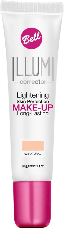 Bell Флюид суперстойкий корректирующий и придающий сияние Illumi Lightening Skin Perfection Make-up (03 бежевый)Bell<br>Флюид значительно улучшает состояние кожи лица, придавая здоровый вид и естественное сияние серой и усталой коже.  Редуцирует покраснения, устраняет мелкие недостатки кожи, придает коже ровный тон. Содержит UVA и UVB фильтры, защищающие кожу от вредного действия солнечных лучей.<br>Руководство по выбору:<br>Здоровый вид и естественное сияние для кожиСпособ применения:<br>Нанести тонким слоем на кожу лицаСостав:<br>Ingredients: Aqua (Water), Cyclopentasiloxane, Cyclohexasiloxane, Glycerin, PEG/PPG-18/18 Dimethicone, Sodium Chloride, Titanium Dioxide (nano), Stearoyl Inulin, Acrylates/C12-22 Alkyl Methacrylate Copolymer, Lithium Magnesium Sodium Silicate, Polysorbate 80, Distearyldimonium Chloride, Hydrated Silica, Hydrogen Dimethicone, Propylene Glycol, Tocopherol, Ascorbyl Palmitate, Ascorbic Acid, Triethoxycaprylylsilane, Trimethoxycaprylylsilane, Ethylhexylglycerin, Propylene Carbonate, Citric Acid, PEG-8, Aluminum Hydroxide, Phenoxyethanol, Parfum (Fragrance), Alpha-isomethyl Ionone, Benzyl Salicylate, Butylphenyl Methylpropional, Hexyl Cinnamal, Hydroxyisohexyl 3-Cyclohexene Carboxaldehyde, Mica, Tin Oxide, CI 77491, CI 77492, CI 77499 (Iron Oxides), CI 77891 (Titanium Dioxide)<br><br>Вес г: 75<br>Бренд : Bell<br>Объем мл: 30<br>Упаковка : тюбик<br>Тип кожи : все типы кожи<br>Степень покрытия : средняя<br>Эффект от нанесения : сияние<br>Тип тонального средства : с SPF<br>Страна производитель : Польша